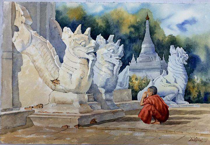 """Water colour painting titled """"Paying Homage"""" by Beikthano Tin Win is one of the paintings to be displayed at the art exchange."""