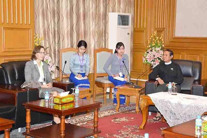 Pyithu Hluttaw Speaker U Win Myint holds talks with Mrs Katrin Bannach in Nay Pyi Taw. Photo: MNA