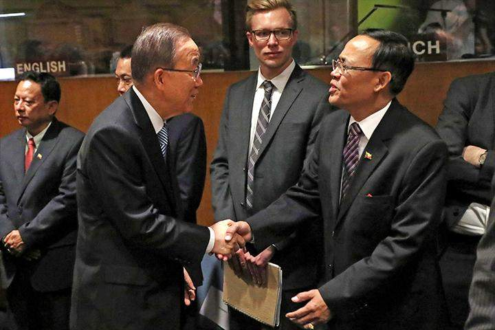 United Nations Secretary-General Ban Ki-moon (L) greets Minister of State for Foreign Affairs U Kyaw Tin before the Fortieth Annual Meeting of Ministers for Foreign Affairs of the Group of 77 ECOSOC at the 71st Session of the United Nations General Assembly in Manhattan, New York, U.S., September 23, 2016.