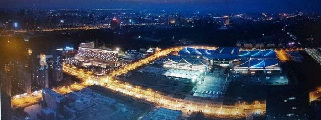 The building where the fifth China-Eurasia Expo is held is illuminated at night. Photo: MNA