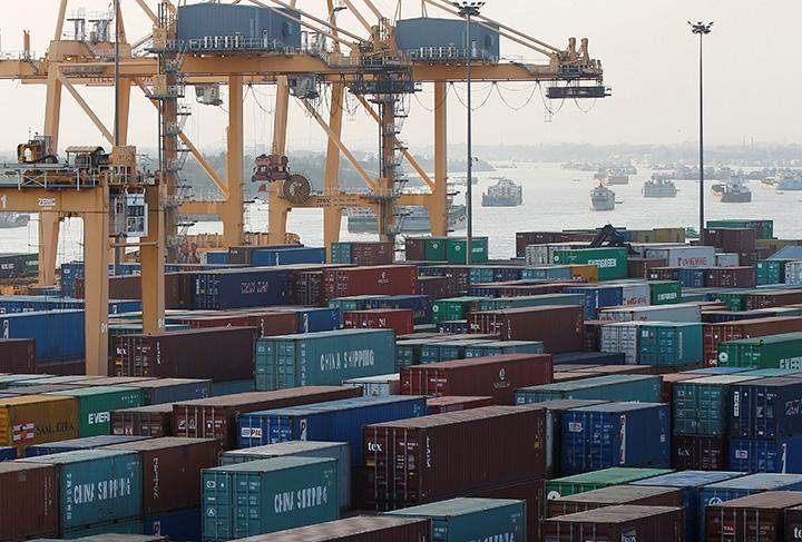 Containers are pictured at Asia World port in Yangon.