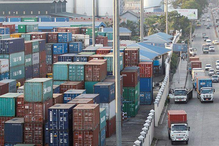Containers are seen at Asia World port in Yangon.