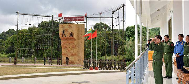 Senior General Min Aung Hlaing observing the training exercises of the special force.