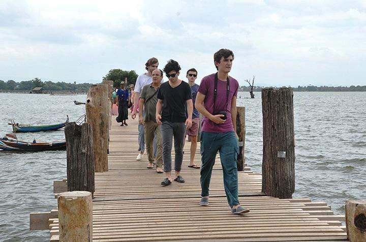 Tourists seen at U Bein Bridge in Mandalay.