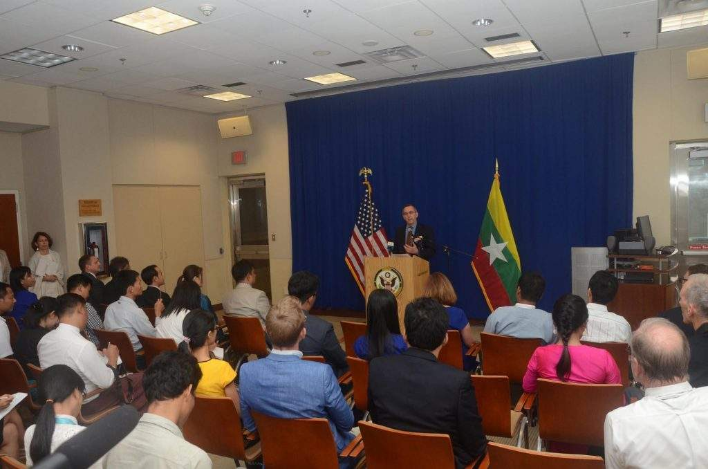 US Ambassador Mr Scot Marciel talks to media at the press conference held at the US Embassy in Yangon. Photo: Ye Htut