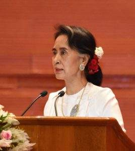 State Counsellor Daw Aung San Suu Kyi addresses the opening ceremony of the Union Peace Conference—21st Century Panglong. Photo: MNA