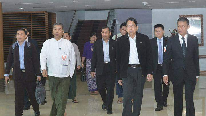 Union Minister for Information Dr Pe Myint being seen off at the airport.
