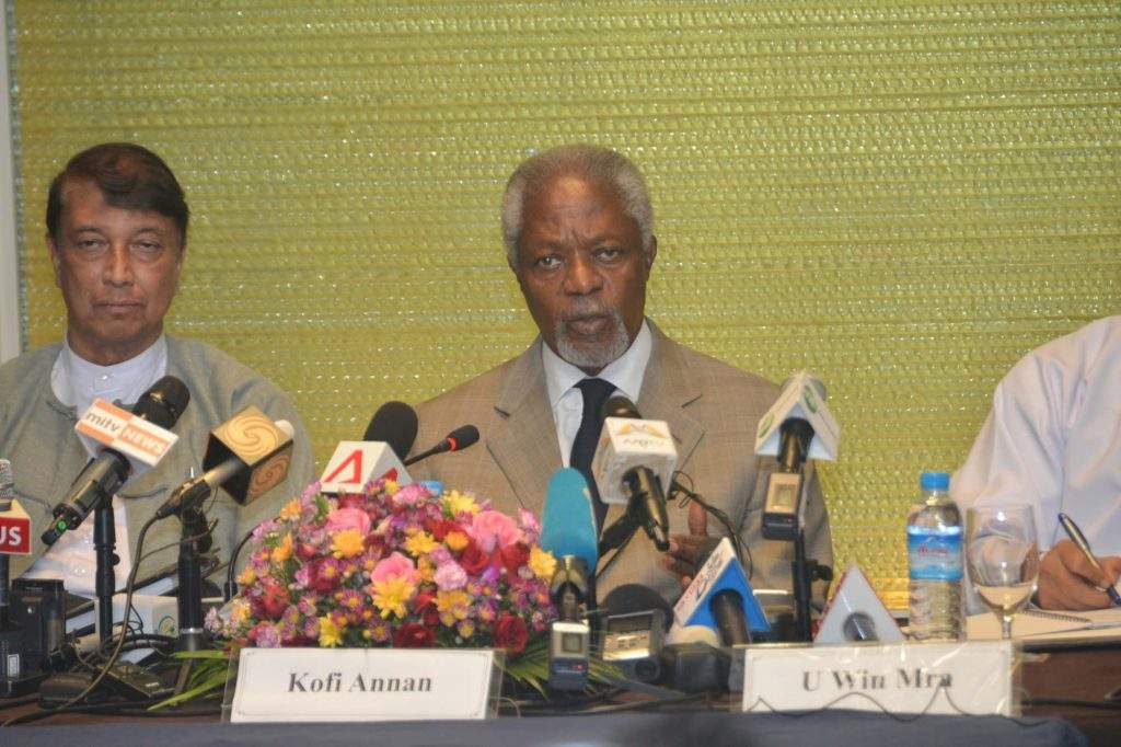Former Secretary-General of the United Nations Mr. Kofi Annan, speaks during the press conference in Yangon. Photo: MNA