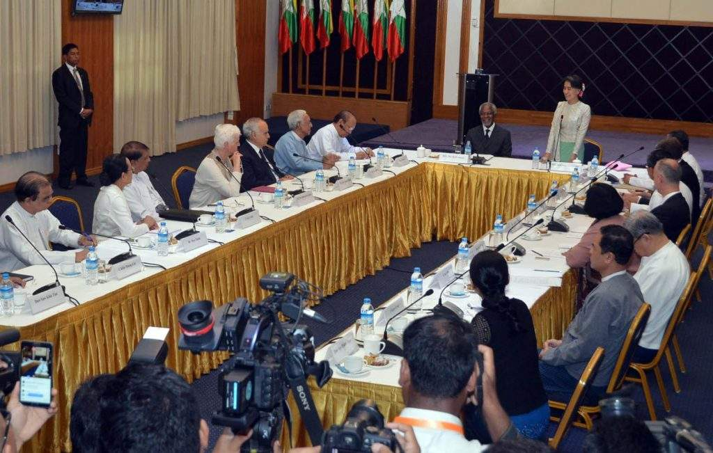 State Counsellor Daw Aung San Suu Kyi making a speech with Mr. Kofi Annan sitting on her right. Photo: MNA