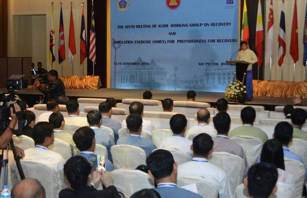 Vice President U Henry Van Thio delivers a speech at the 6th meeting of the Working Group on Recovery of the ASEAN Committee on Disaster Management in Nay Pyi Taw. Photo: MNA
