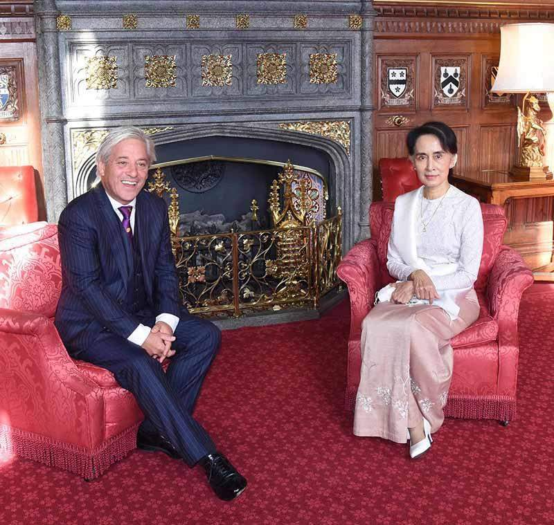 State Counsellor Daw Aung San Suu Kyi holds talks with the Speaker of the House of Commons, Rt Hon John Bercow MP. Photo: MNA