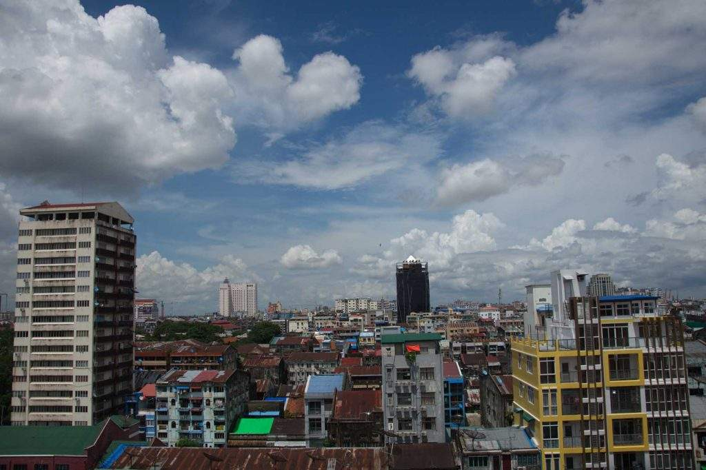 High-rise buildings are seen in Yangon. Photo: Phoe Kwar