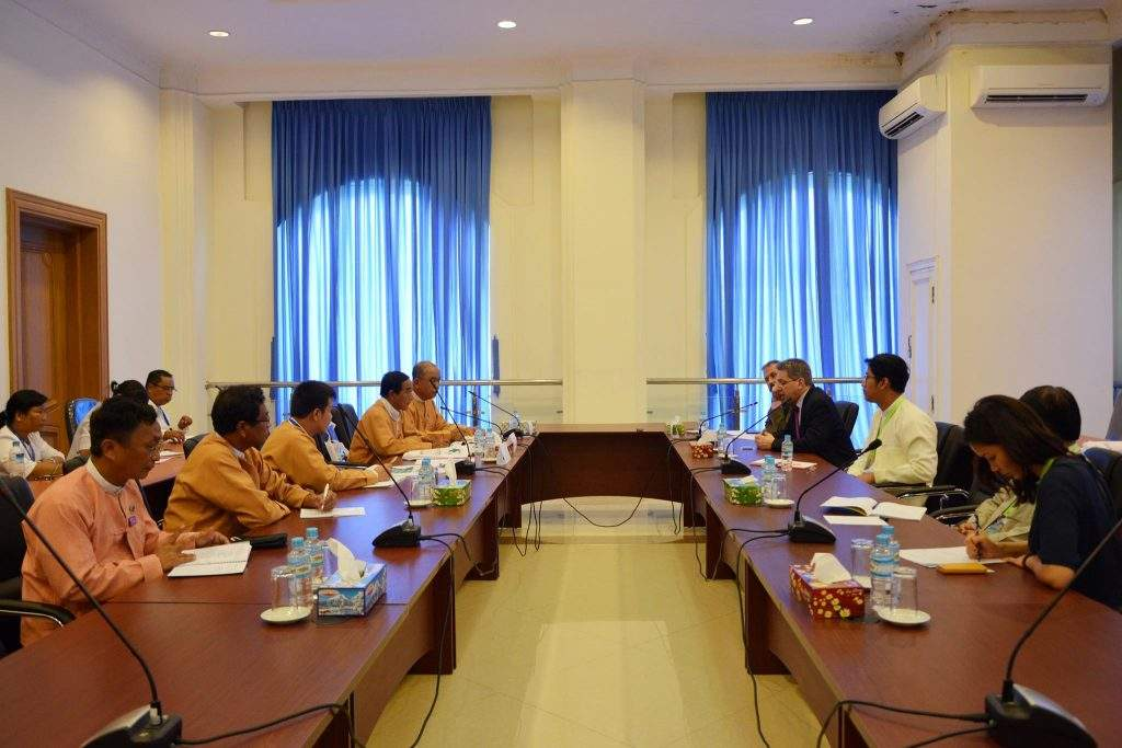 MP Dr San Shwe Win and MP Dr Than Win hold talks with 3MDG Fund Board. Photo: MNA