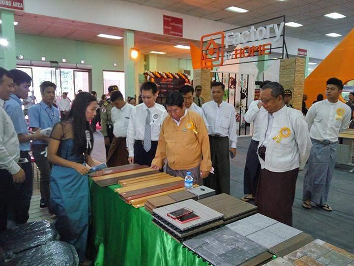 Yangon Mayor U Maung Maung Soe and dignitaries visit the Housing and Building expo 2016 in Yangon.