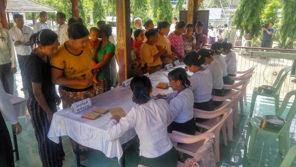 Voters gather to elect executive committee members for Myanmar Retailers' Association in Mandalay. Photo: Supplied