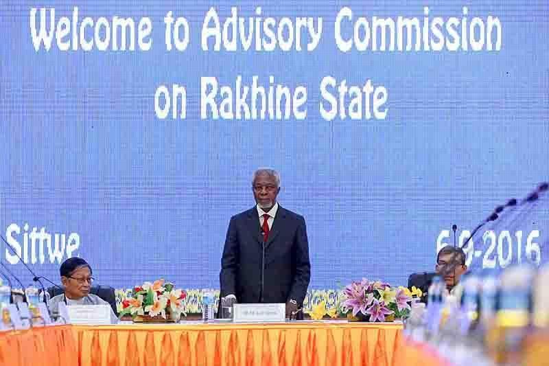 Chairman of Rakhine State Advisory Commission Mr. Kofi Annan, the former Secretary-General of the United Nations addresses in Sittwe, on 6 September. Photo: Reuters