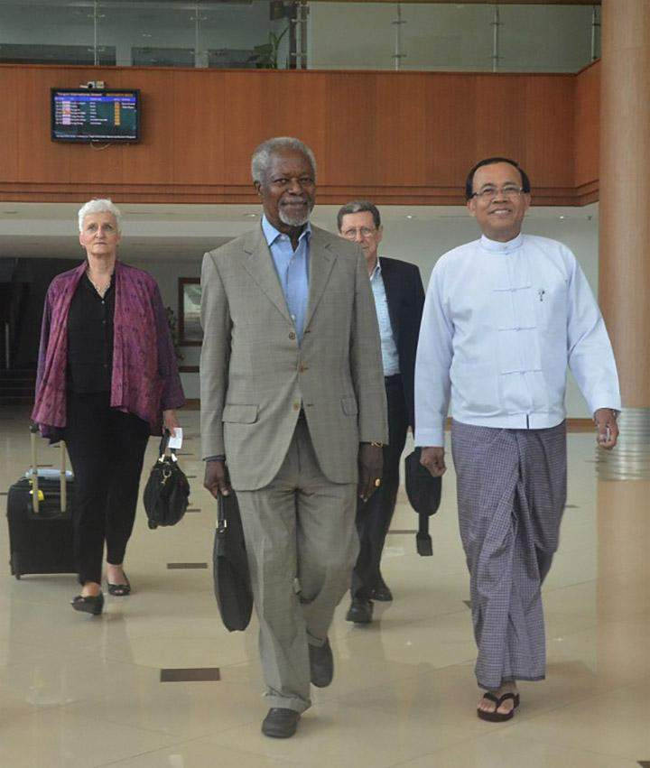 UN former Secretary-General welcomed by Minister of State for  Foreign Affairs U Kyaw Tin.