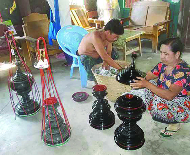 Myanmar lacquerware are mainly produced in Bagan.