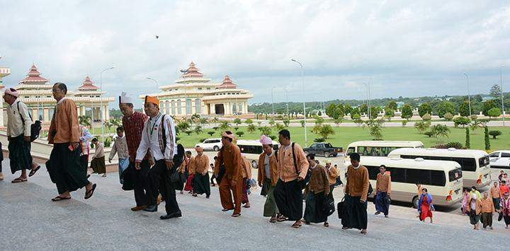 Pyithu Hluttaw representatives seen upon arrival at Pyithu Hluttaw.