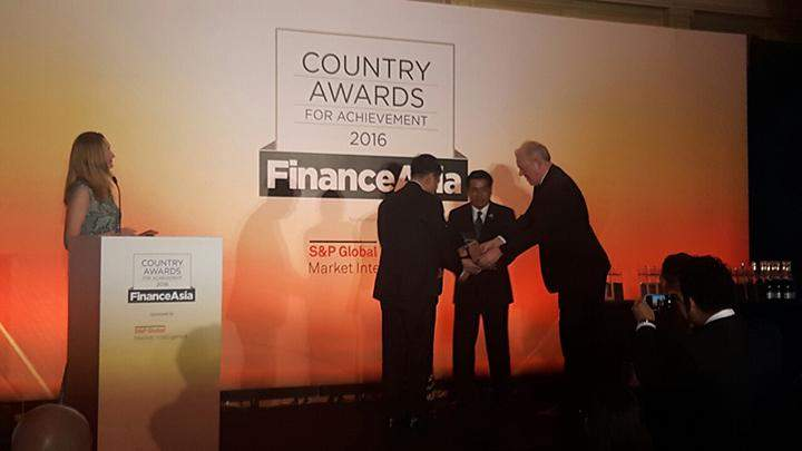 """Kanbawza Bank is crowned with """"Best Bank in Myanmar"""" award by London-based Finance Asia."""