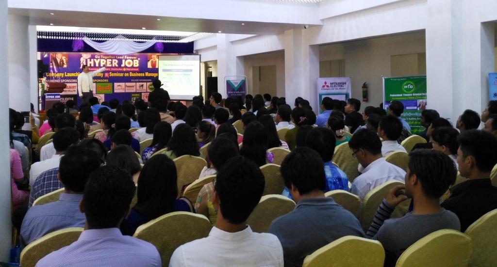 A talk organized by Hyper Job Co Ltd in progress. Photo: Thiha Ko Ko