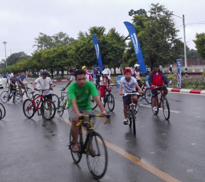 Amateur cyclists at the starting line for the community event promoting fitness and environmental improvement. Photo: Thiha Ko Ko (Mdy)