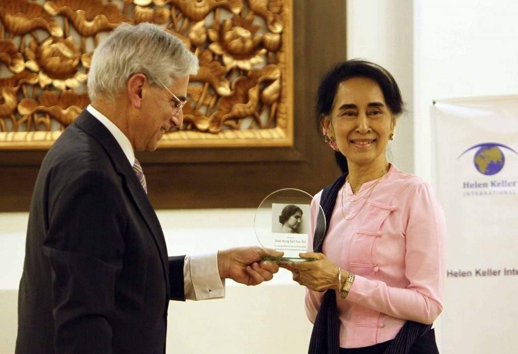 State Counsellor Daw Aung San Suu Kyi accepts the Helen Keller International Humanitarian Award 2016. Photo: Aung Shine Oo