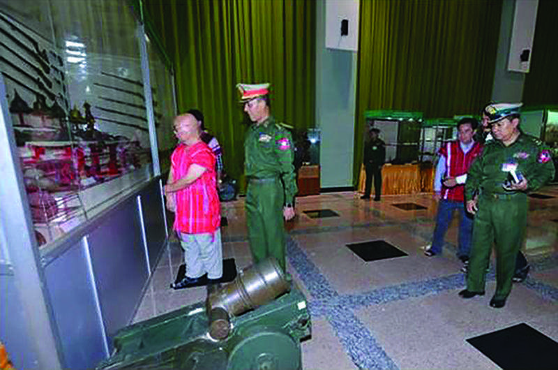 KNU party chairman Saw Mutu Sephaw observing the exhibits at the museum.