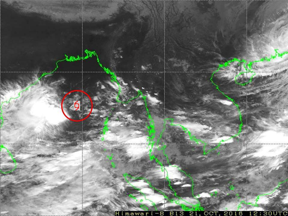 The red circle shows the depression in the Bay of Bengal. Photo: DMH