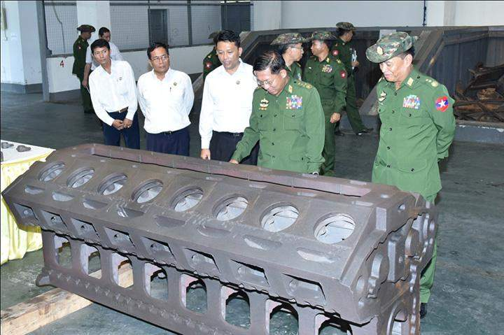 Senior General Min Aung Hlaing inspecting a heavy industrial factory in Thagaya Industrial Zone in Yedashe Township.
