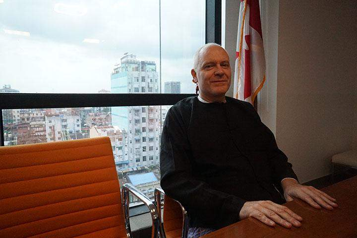 Ambassador McDowell in the meeting room of the Canadian Embassy, Yangon.