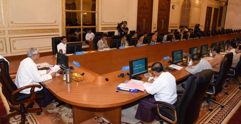 President U Htin Kyaw addresses the finance commission meeting 2/2016 in Nay Pyi Taw on 31st October, 2016. Photo: MNA