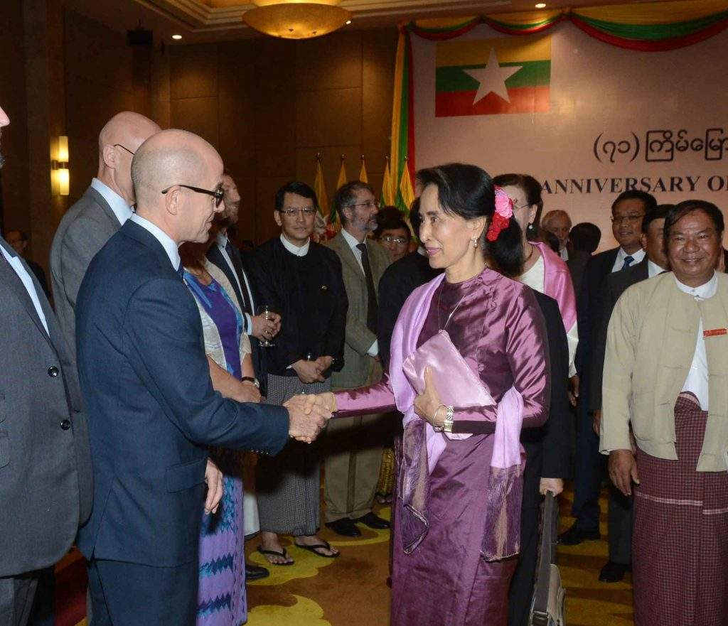 State Counsellor Daw Aung San Suu Kyi welcomes diplomats at the reception to commemorate the 71st anniversary of the United Nations . Photo: MNA