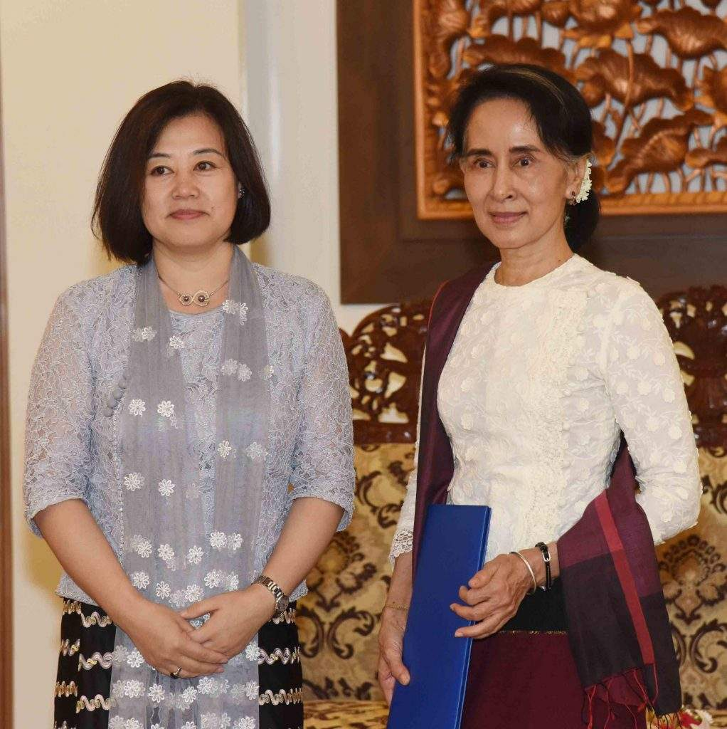 State Counsellor Daw Aung San Suu Kyi recieves Ms Xiaojie Fan, newly accredited United Nations Food and Agriculture Organization (FAO) Resident Representative in Myanmar. Photo: MNA