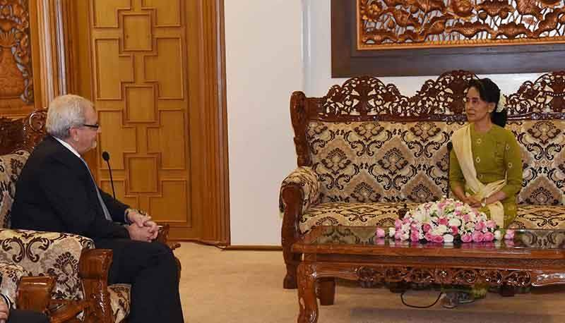 State Counsellor Daw Aung San Suu Kyi receives Mr Philippe H Le Houerou in Nay Pyi Taw. Photo: MNA