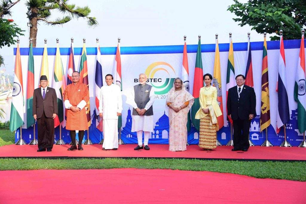 State Counsellor Daw Aung San Suu Kyi poses for photo together with other leaders of BIMSTEC countries in Goa, India. Photo: MNA