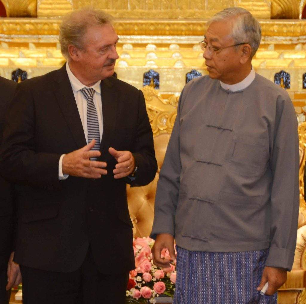 President U Htin Kyaw meets Mr Jean Asselborn at the Ministry of Foreign Affairs in Nay Pyi Taw. Photo: MNA