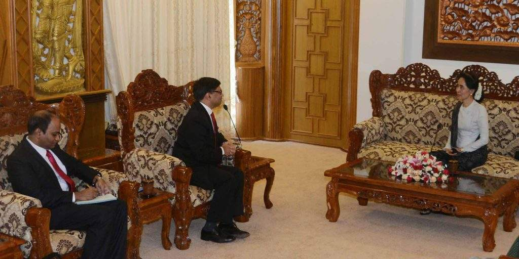 State Counsellor Daw Aung San Suu Kyi holds talks with Mr Vikram Misri, the Ambassador of the Republic of India to Myanmar. Photo: MNA