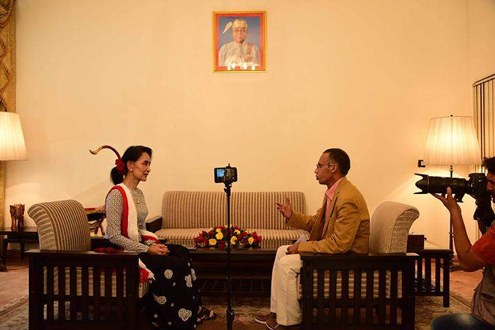 Daw Aung San Suu Kyi is being interviewed by Mr Zezaul Laskar from the Hindustan Times.