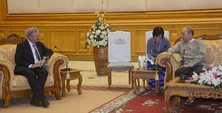 Speaker Mahn Win Khaing Than holds talks with Mr Jean Asselborn in Nay Pyi Taw.