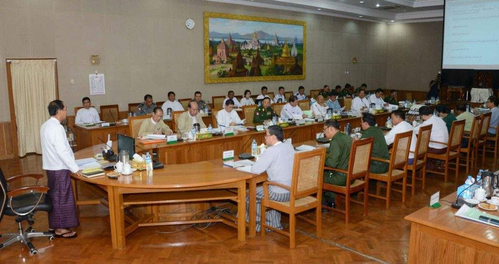 Vice President U Myint Swe addressing the meeting of 69th Independence Day Convening Central Committee in Nay Pyi Taw. Photo: MNA