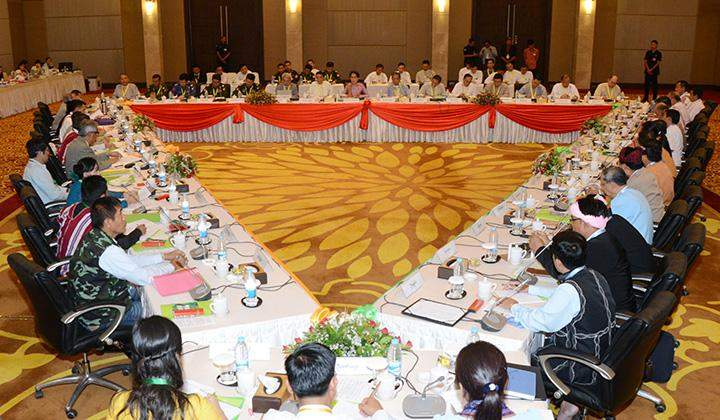 State Counsellor Daw Aung San Suu Kyi addresses the meeting of the Union Peace Dialogue Joint Committee.