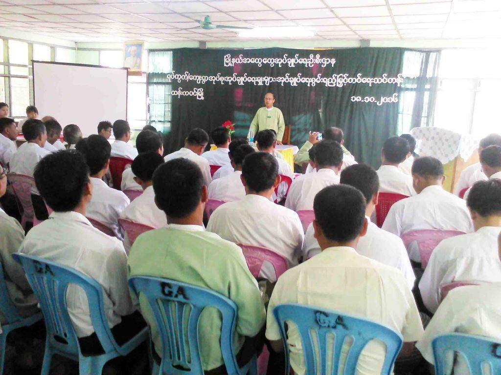 Township Administrator U Than Shwe delivering the opening speech. Photo: Shwe Win (Pyay)