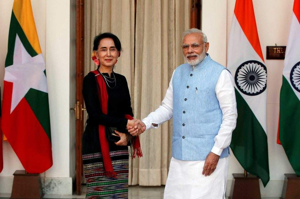 State Counsellor Daw Aung San Suu Kyi shakes hands with India's Prime Minister Narendra Modi during a photo opportunity ahead of their meeting at Hyderabad House in New Delhi, India, on 19 October 2016. Photo: Reuters