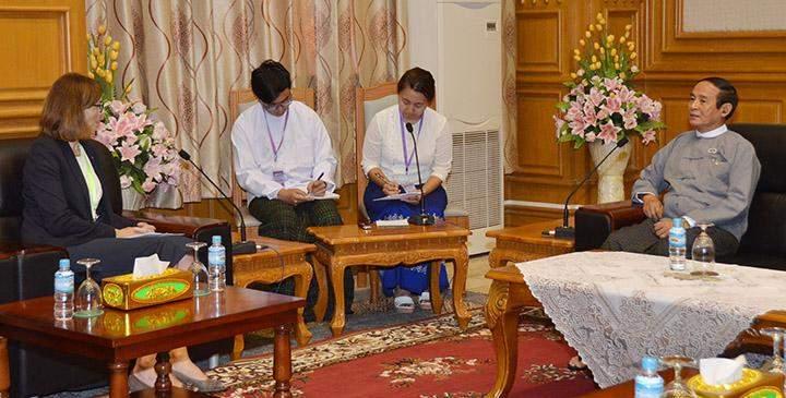 Speaker U Win Myint receives Ms Tone Tinnes in Nay Pyi Taw.