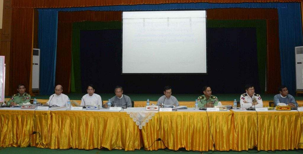 The union ministers, deputy ministers, Rakhine State chief minister and high-ranking officials at the press conference. Photo: MNA