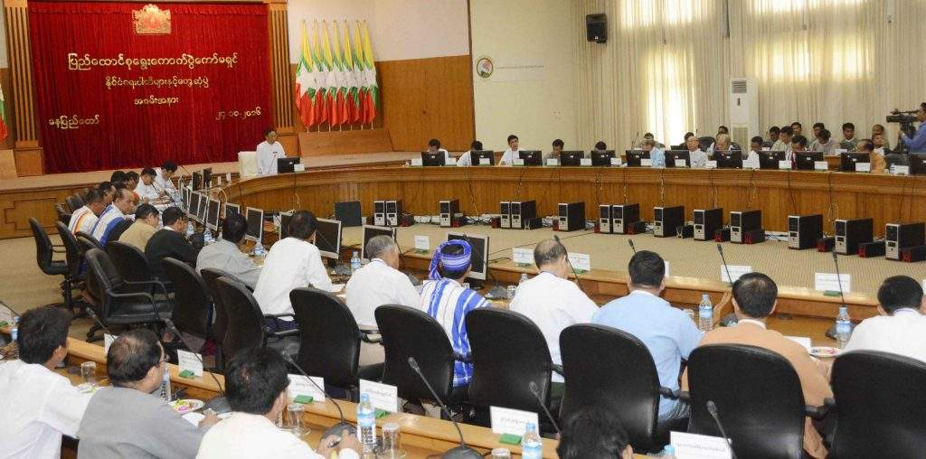The meeting of the Union Election Commission being held in Nay Pyi Taw. Photo: MNA