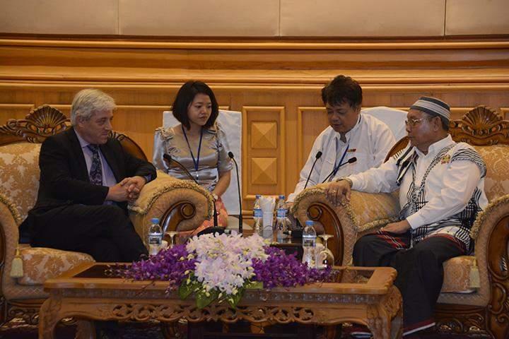 Speaker Mahn Win Khaing Than receives Mr John Bercow in Nay Pyi Taw.