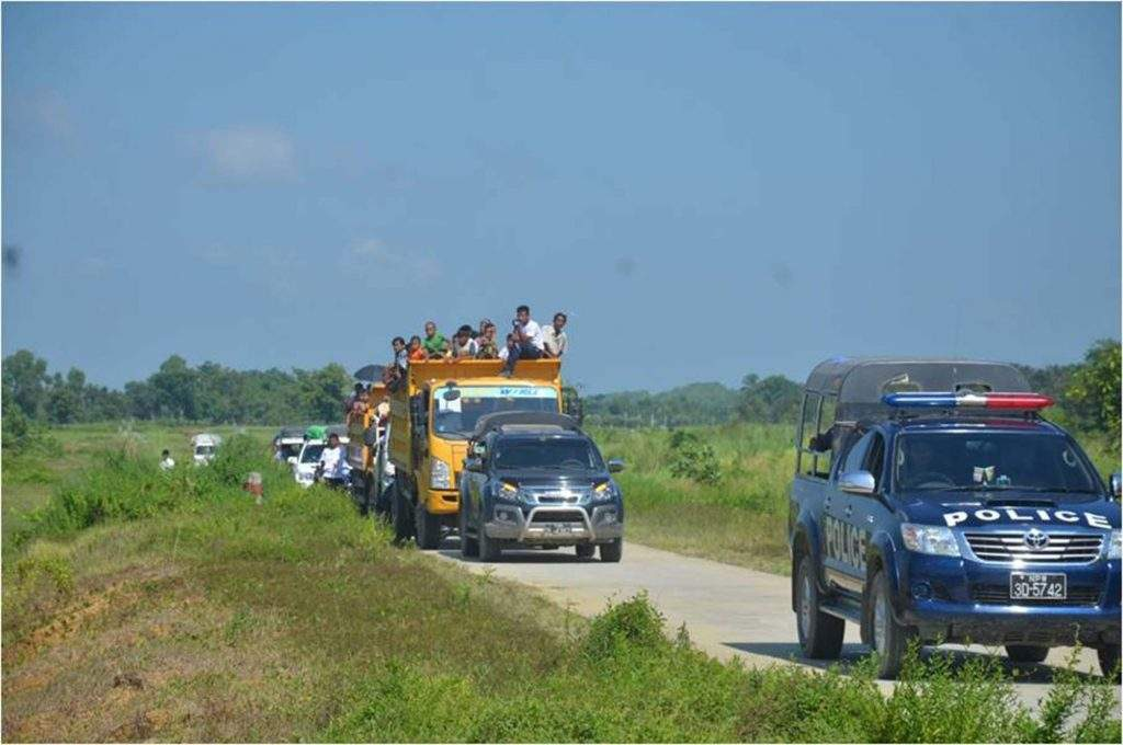 Villagers are seen on their way back to native villages in Maungtaw Township. Photo: Myawady