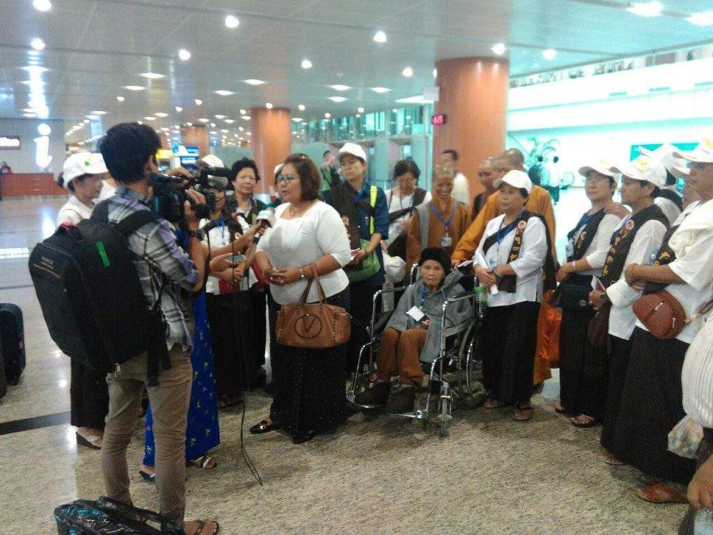 Pilgrims to Gaya seen at Yangon International Airport. Photo: Supplied